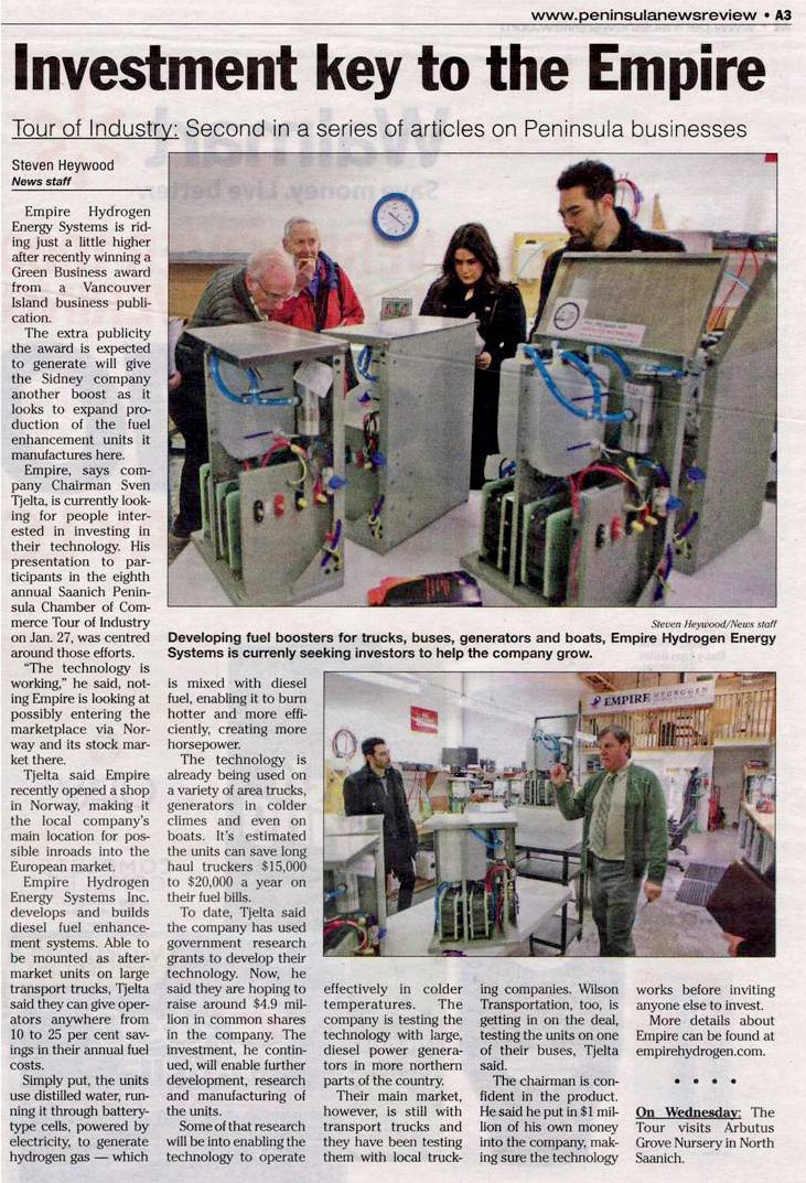 Penninsula News Item re Empire Hydrogen tour for Chamber of Commerce